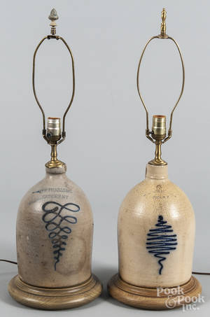 Two stoneware jug table lamps