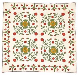 Pennsylvania appliqu Whig rose quilt 19th c