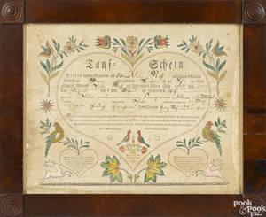 Ephrata Pennsylvania BaumannRuth printed and watercolor fraktur birth certificate dated