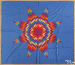 Somerset County Pennsylvania Amish lone star quilt ca 1930