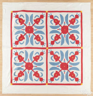Lancaster County Pennsylvania pineapple appliqu quilt late 19th c