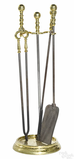 Set of Federal brass and iron fire tools ca 1820