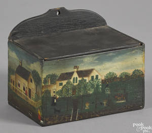 Painted walnut hanging box early 20th c