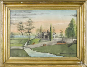 American pastel landscape mid 19th c