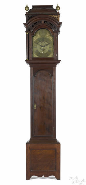 Rare Boston Massachusetts Queen Anne walnut tall case clock ca 1740