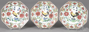 Set of three Chinese Qianlong period famille rose octagonal plates mid 18th c