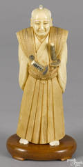 Japanese Meiji period carved ivory samurai