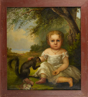 Oil on canvas folk portrait mid 19th c