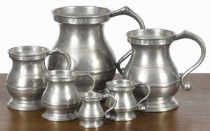 Six graduated English pewter measures 19th c