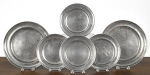 Six American pewter plates 19th c