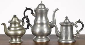 Three American pewter coffeeteapots 19th c