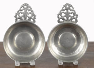 Two New England pewter porringers early 19th c