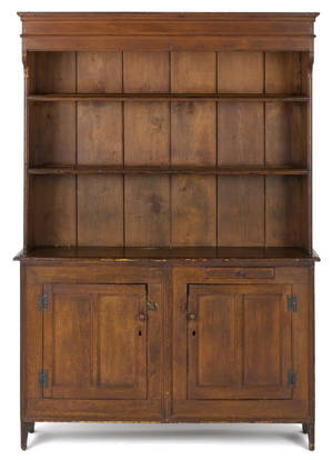 Southern hard pine pewter cupboard late 18th c