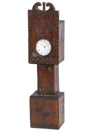 Sailors carved hardwood clockform watch hutch 19th c