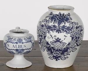 Two Delft blue and white druggist jars 18th c
