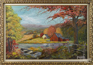 American oil on board landscape with a farm