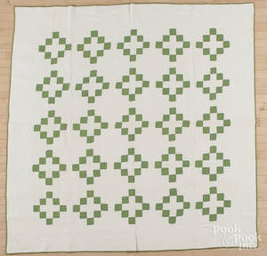 Pennsylvania green and white pieced quilt