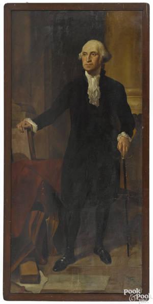 American oil on canvas fulllength portrait of George Washington mid 19th c