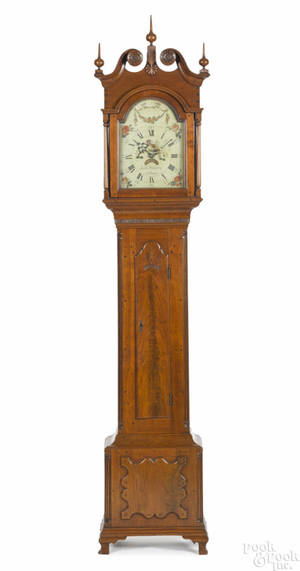 Northampton County Pennsylvania Chippendale walnut tall case clock late 18th c