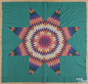 Lancaster County Pennsylvania Amish lone star quilt ca 1930