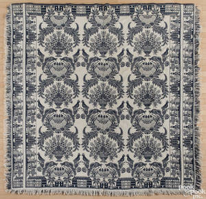 Blue and white jacquard coverlet ca 1840