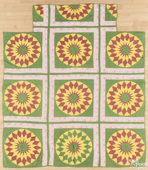New York rising sun pieced quilt late 19th c