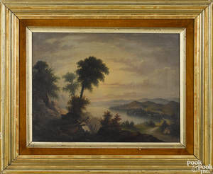 Hudson River oil on canvas landscape mid 19th c