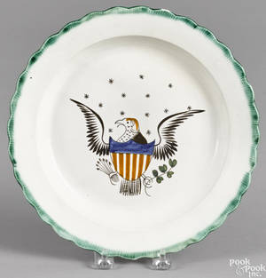 Pearlware green feather edge plate 19th c
