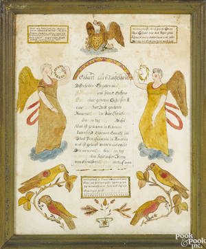 Pennsylvania watercolor fraktur birth certificate