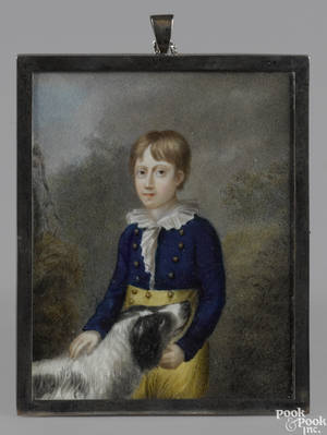 Miniature watercolor on ivory portrait of a boy and his dog early 19th c