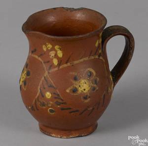 Rare Pennsylvania redware cream pitcher late 18th c