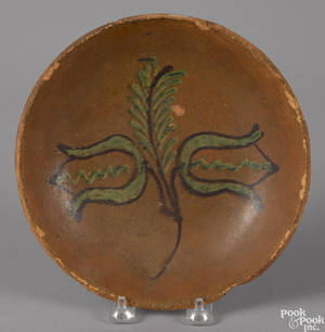 Pennsylvania redware pie plate 19th c