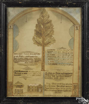 Lehigh County Pennsylvania ink and watercolor fraktur family tree and blessing dated