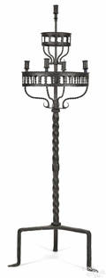 Gothic style wrought and cast iron twotier candlestand 19th c