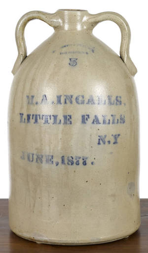 New York fivegallon stoneware advertising jug 19th c