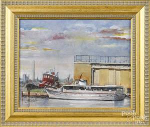 Modern oil on canvas harbor scene