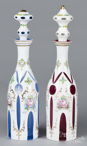 Pair of Bohemian glass decanters
