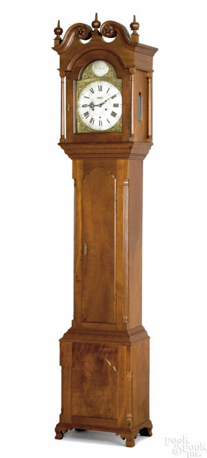 Rare Bucks County Pennsylvania Chippendale cherry tall case clock ca 1784