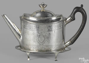 New York coin silver teapot and stand ca 1810