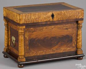 Pennsylvania birdseye maple and mahogany dresser box 19th c