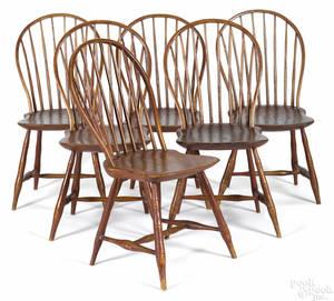 Set of six Pennsylvania bowback Windsor chairs ca 1820