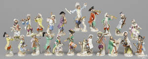 Meissen twentytwo piece porcelain monkey band late 19th c