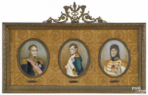 Set of three French miniature watercolor on ivory portraits late 19th c