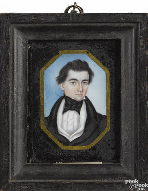 Miniature watercolor on ivory portrait of a gentleman 19th c