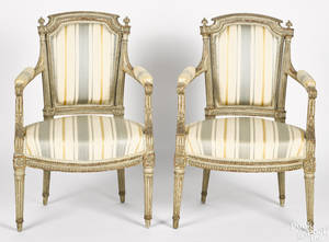 Pair of French painted fauteuils late 19th c