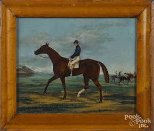 Oil on board of a horse and jockey