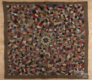 Victorian crazy quilt with a central star