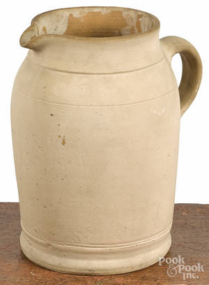Solomon Bell redware pitcher 19th c