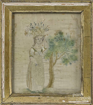 English watercolor and silk embroidery of a girl
