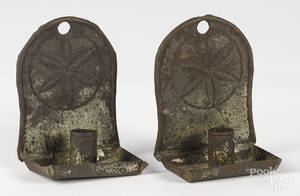 Pair of tin sconces